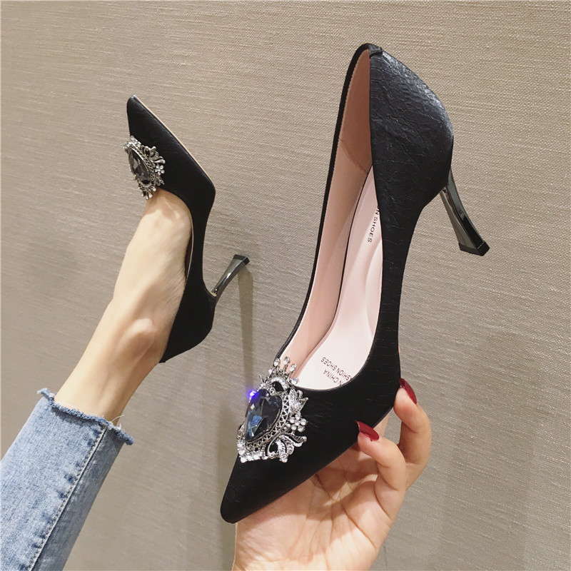 2020 New Sexy Banquet Ultra-high Heel Shallow Mouth Pointed Metal Rhinestone Buckle Shoes Women's Shoes High Heels