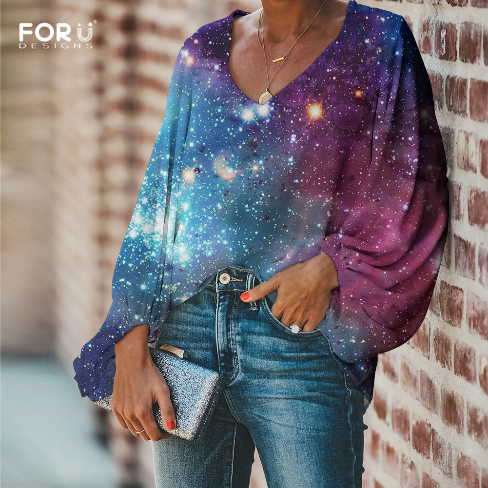 FORUDESIGNS Galaxy Space Printing Women Blouses Long Sleeve Blouse Loose Tunic V Neck Shirts Ladies Chiffon Blouse Sexy Tops