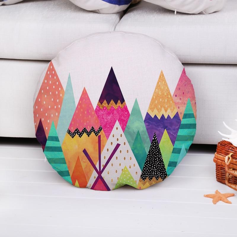 fashion high quality cotton linen color geometry circular car decorative throw pillow case cushion cover sofa home decor