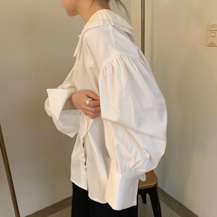 Hd868cb74c8c44b5c96576d4541a4d96aK - Spring / Autumn Korean Pilgrim Collar Long Sleeves White Blouse