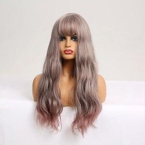 Image 2 - EASIHAIR długie ciało fala peruki syntetyczne dla kobiet szary do fioletowego Ombre sztuczne włosy Cosplay peruki z grzywką peruki termoodporne
