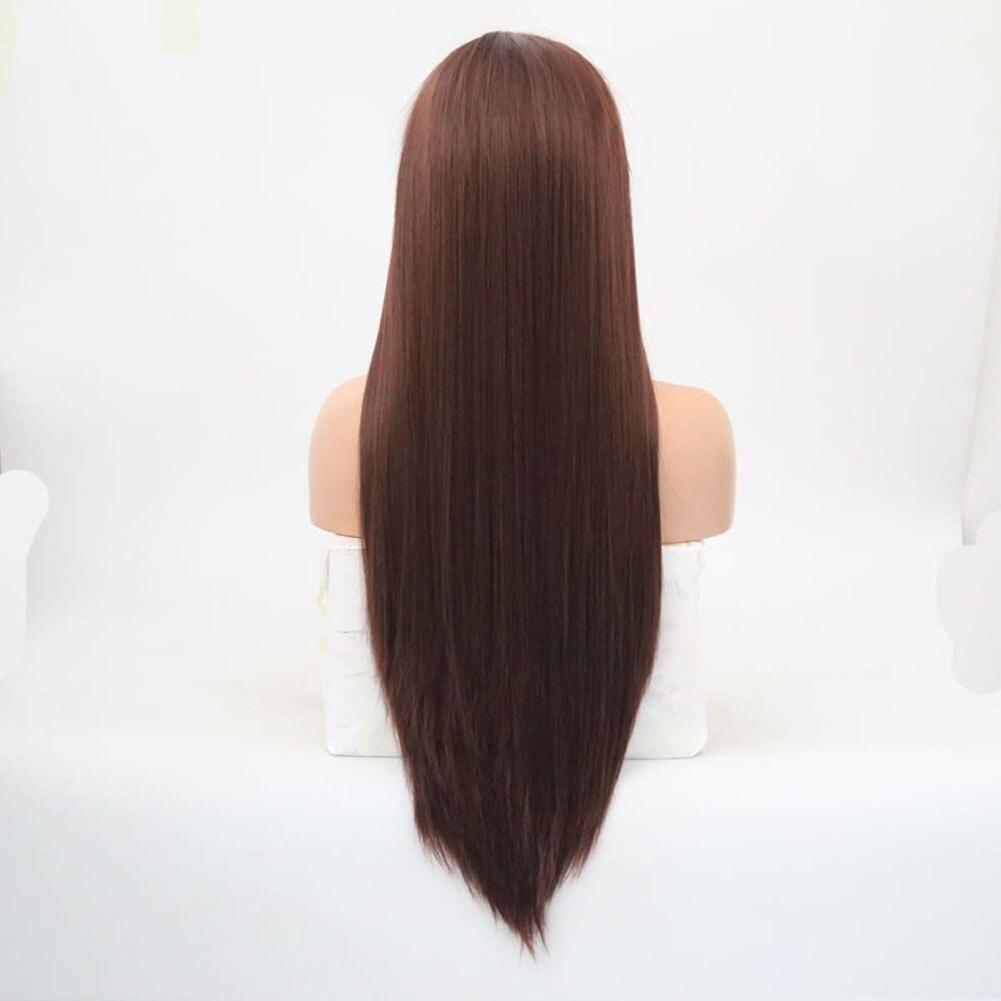 castanho claro cabelo perucas de renda reta sedosa