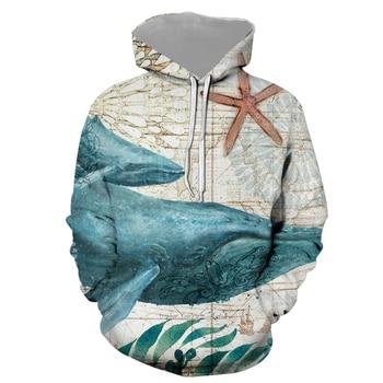 Sudadera con capucha Vida Marina impresión 3D sudadera Hip Hop divertida moda Otoño sudaderas para parejas ropa