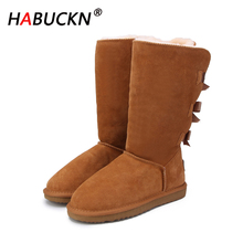 цена на HABUCKN 2020Fashion Women Long Boots Genuine cow Leather Snow Boots Bowknot Snow Boots Warm High Winter Boots US 3-13 Large size