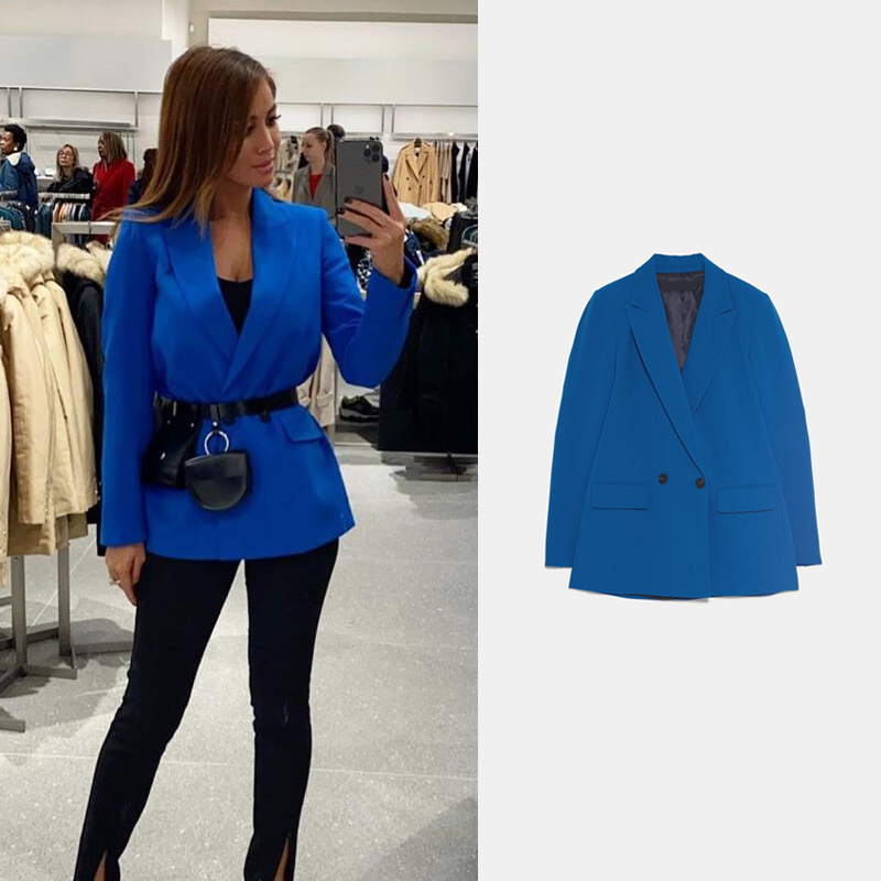 2020 ZA New Women Blazer Spring Double-breasted Suit Lapel Fashion Casual Coat Loose Solid Color Jacket Temperament Office Lady