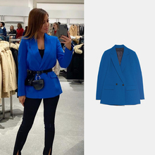2020 ZA New Women Blazer Spring Double-breasted Suit Lapel F