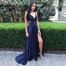 Sexy Long Prom Dresses Gowns V Neck A-Line Navy Blue Satin Prom Gowns Leg Slit G