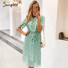 Simplee Elegant dot print women summer dress Short sleeve ruffle sash female midi dress Pearl buttons a line ladies green dress