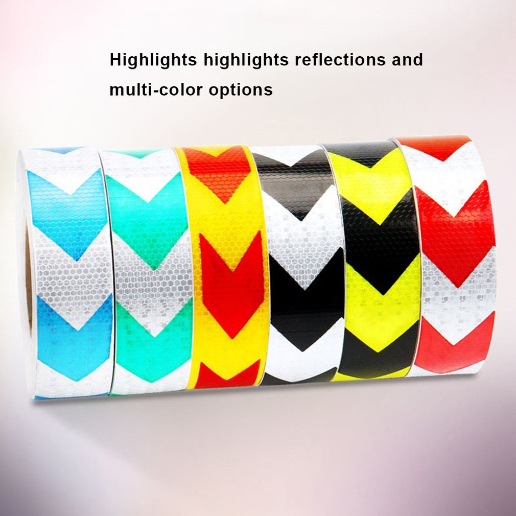 5CM Width Long Self-adhesive PVC Reflective Safety Warning Tape Road Traffic Construction Site Reflective Arrow
