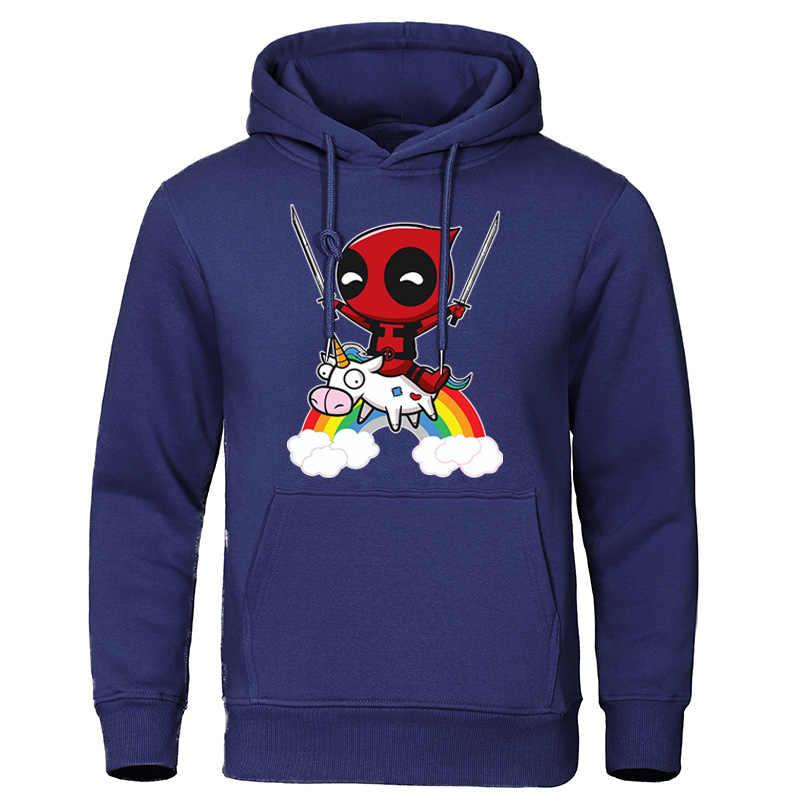 2019 jesienne zimowe bluzy śliczne Deadpool drukuj dres Marvel mężczyźni bluzy Top na co dzień Streetwear Harajuku pulowery hiphopowe
