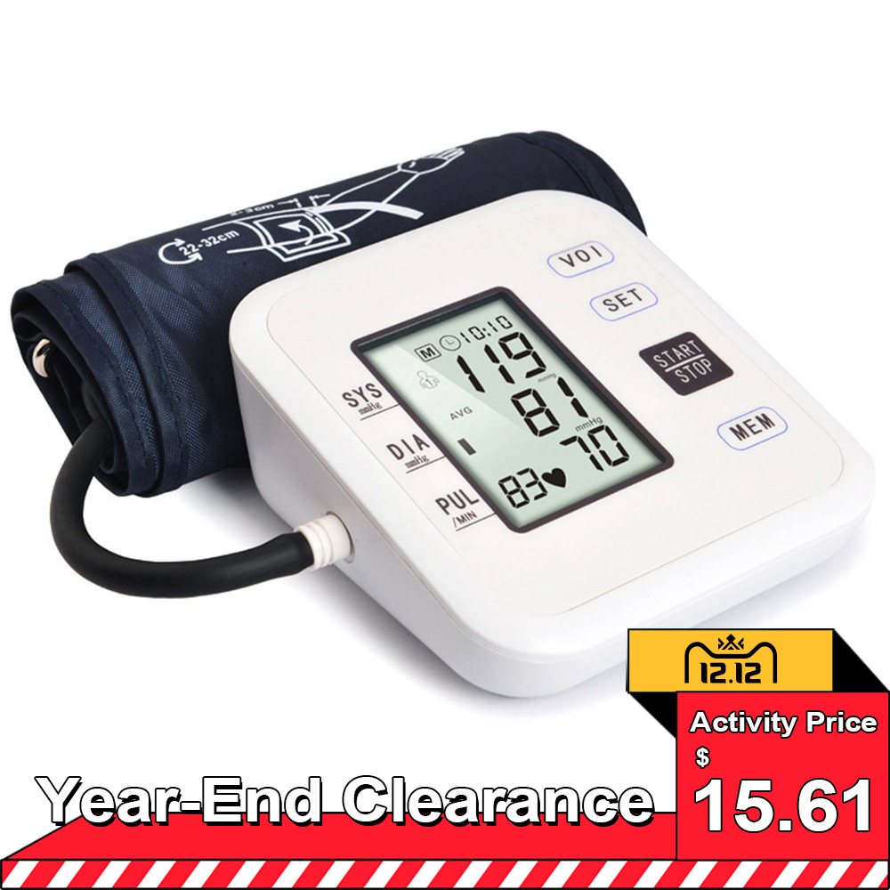 Tonometer Upper Arm Style Blood Pressure Monitor Electronic Automatic Large LCD Display Digital Intelligent Blood Pressure Meter