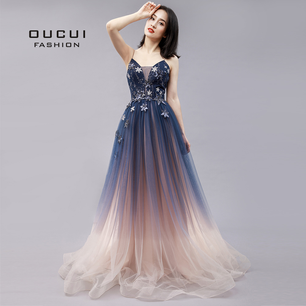 Oucui Tulle Prom Dresses Two-Tone Shadow Appliques Evening Gown Woman Formal Party Night Plus Size Sleeveless Sequined OL103774