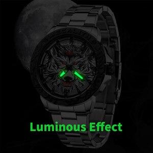 Image 3 - MEGALITH 최신 늑대 머리 양각 시계 남자 럭셔리 스테인레스 스틸 시계 방수 빛나는 남성 시계 Relogio Masculino 2020