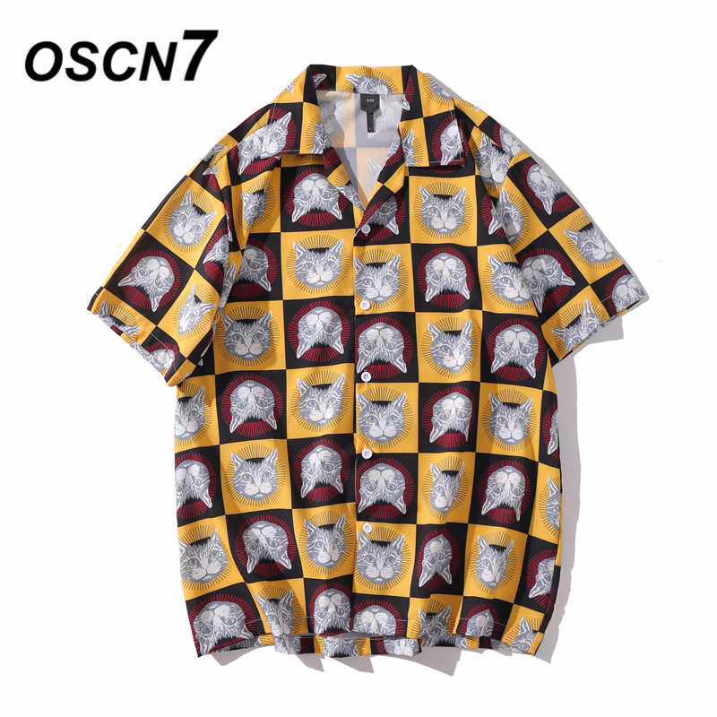 OSCN7 Casual Printed Short Sleeve Shirt Men Street 2020 Hawaii Beach Oversize Women Fashion Harujuku Shirts For Men XQ80