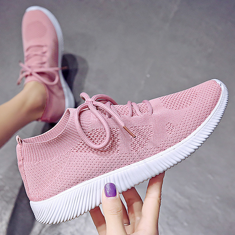 White Sneakers Women Knitted Mesh Breathable Sports Shoes Woman Fashion Lace Up Sock Shoes Casual Woman Sneakers