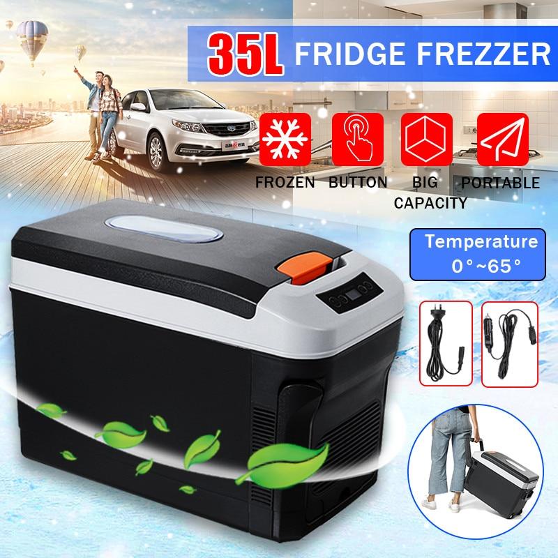 Car Refrigerator 35L Freeze Heating DC12-24V/AC220V Fridge Compressor For Car Home Picnic Refrigeration Heating 0~65 Degrees