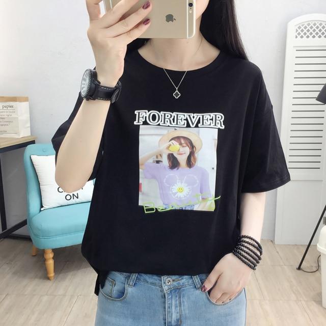 Фото футболка женская с буквенным принтом модный хлопковый топ рубашка цена