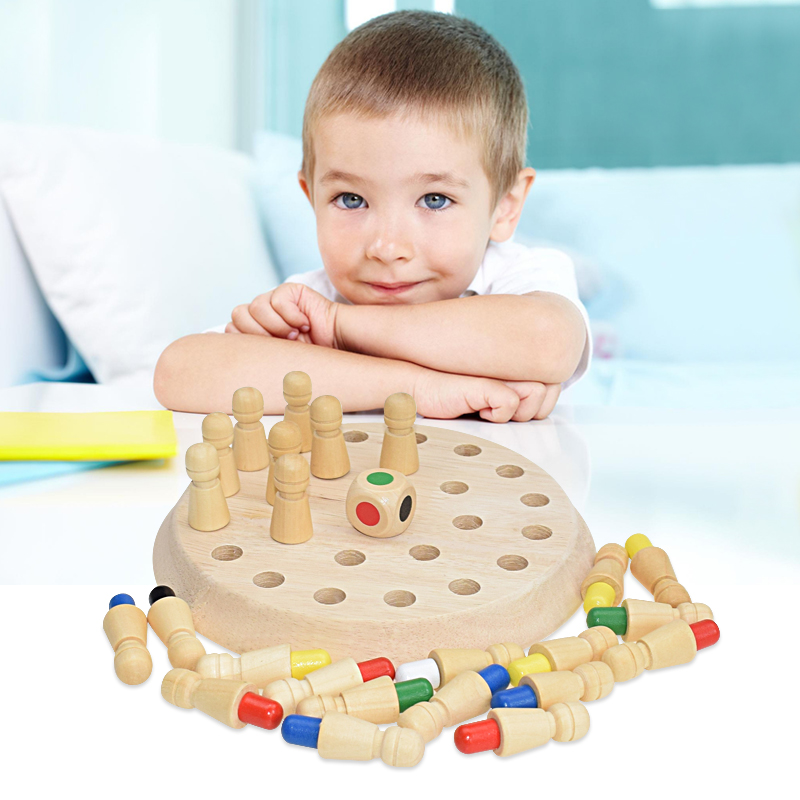 Kids Wooden Memory Match Stick Chess Game Fun Block Board Game Educational Color Cognitive Ability Toys For Children Gift