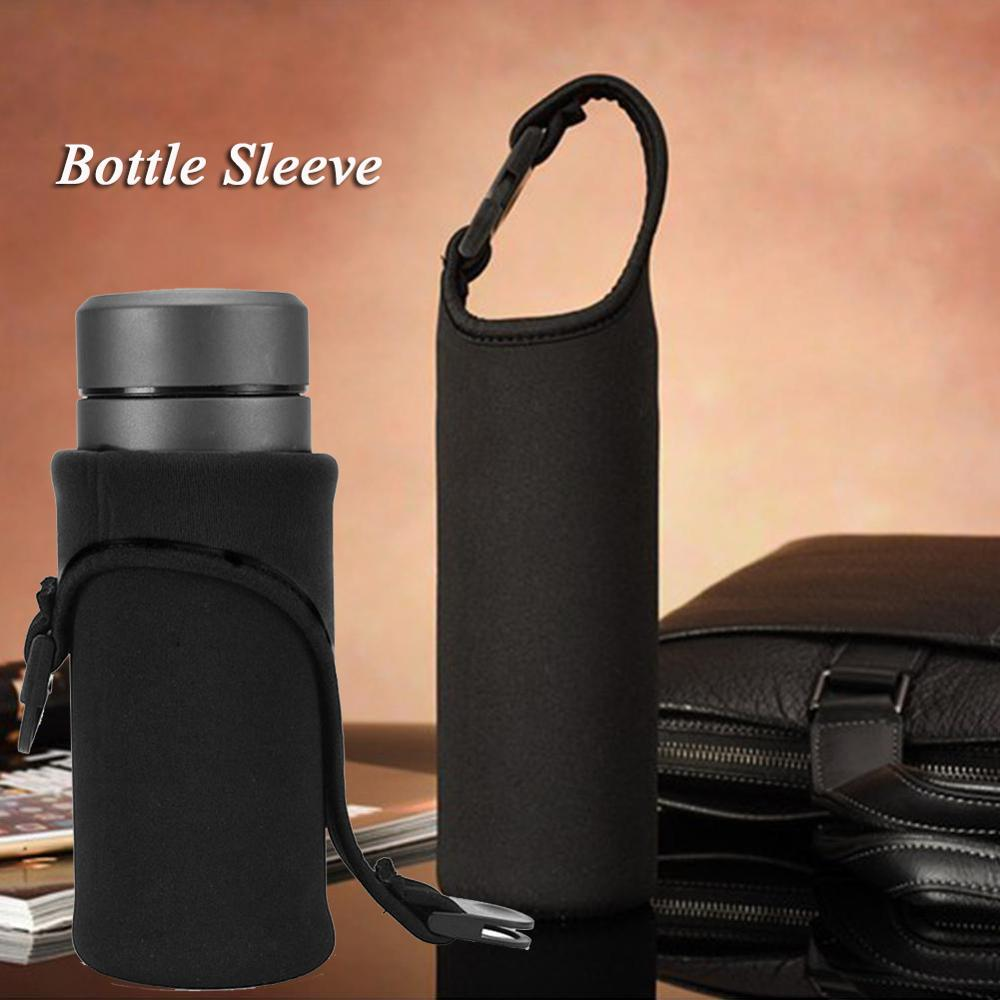 HobbyLane 500mL Water Bottle Sleeve Cover Insulated Waterproof Neoprene Bottle Holder Carrier With Buckle Handle Black