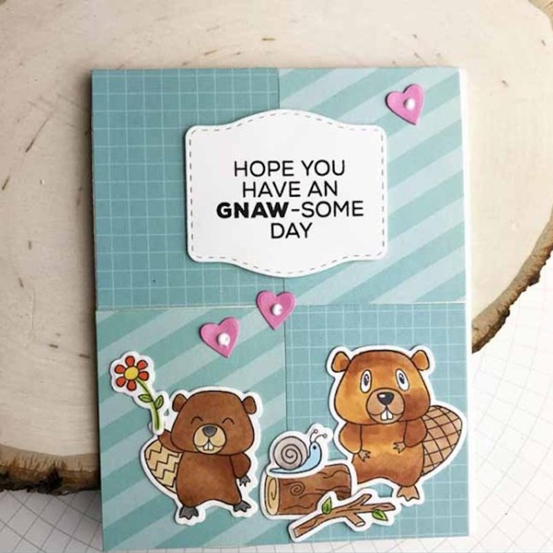 AZSG Cute Beaver Cherish Time Clear Stamps Seals For DIY Scrapbooking Card Making Album Decorative Silicone Stamp Crafts in Stamps from Home Garden