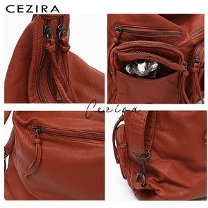 Image 4 - CEZIRA большой мягкий Повседневный женский рюкзак, функциональный школьный рюкзак для девочек, сумка из искусственной кожи, Дамский мессенджер с несколькими карманами и сумка через плечо