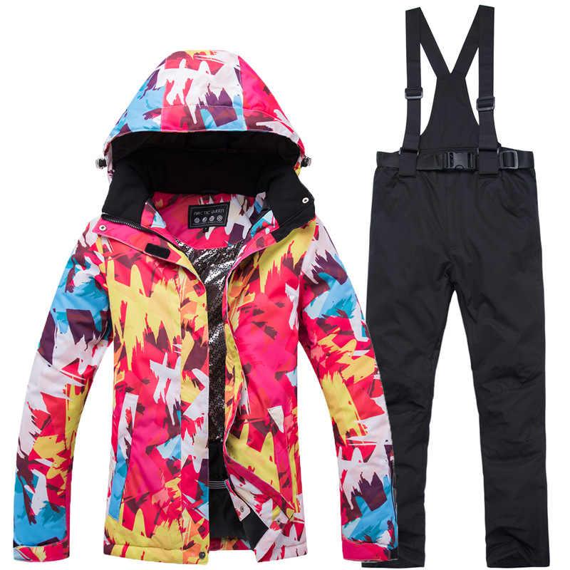 2019 Ski Set Wanita Tahan Air Windproof Ski dan Snowboarding Jaket Setelan Celana Wanita Salju Kostum Outdoor Memakai Tebal Hangat