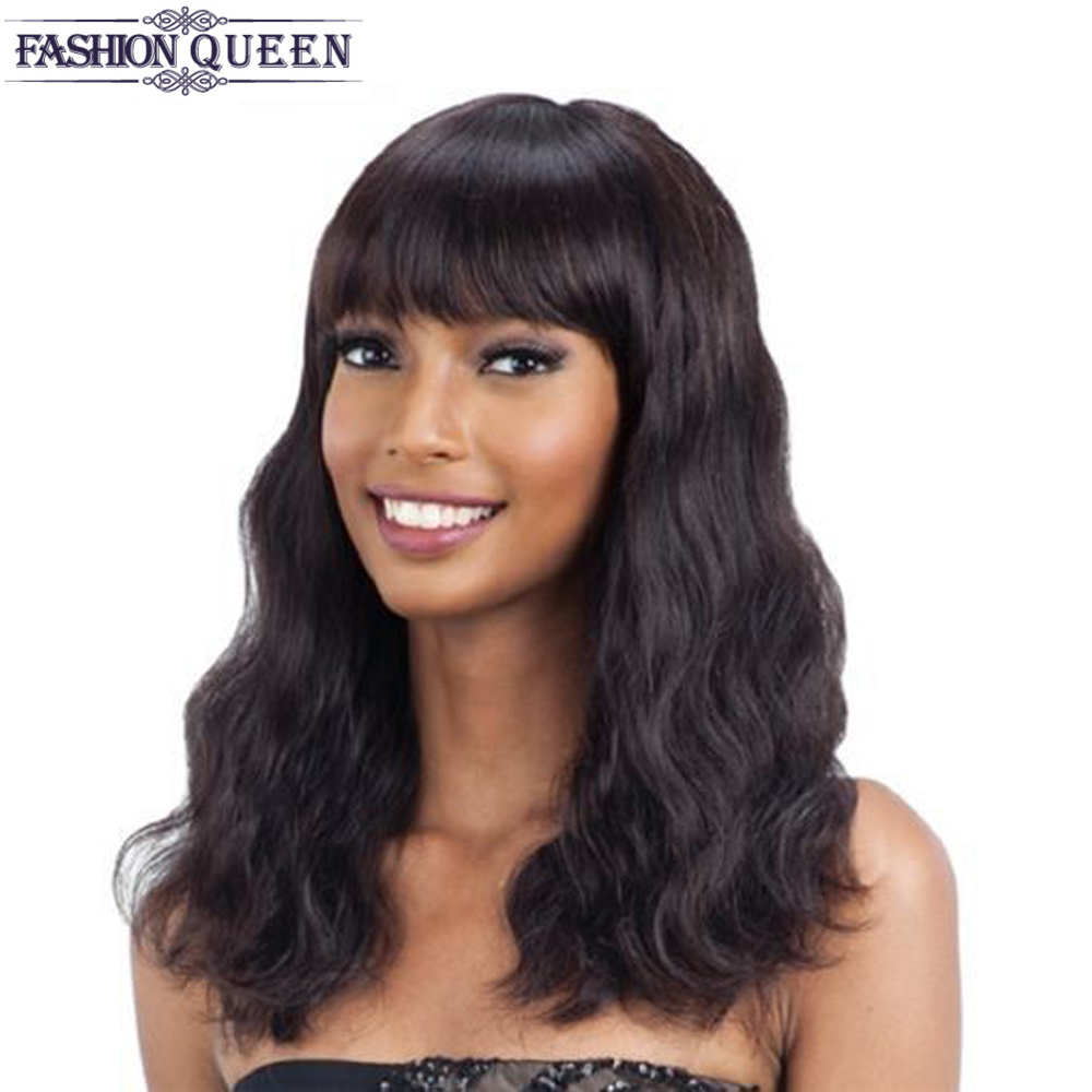 Mongolian Non Remy Loose Wave Human Hair Wigs With Adjustable Bangs Human Hair Wigs Machine  Made Natural Color Fashion Queen
