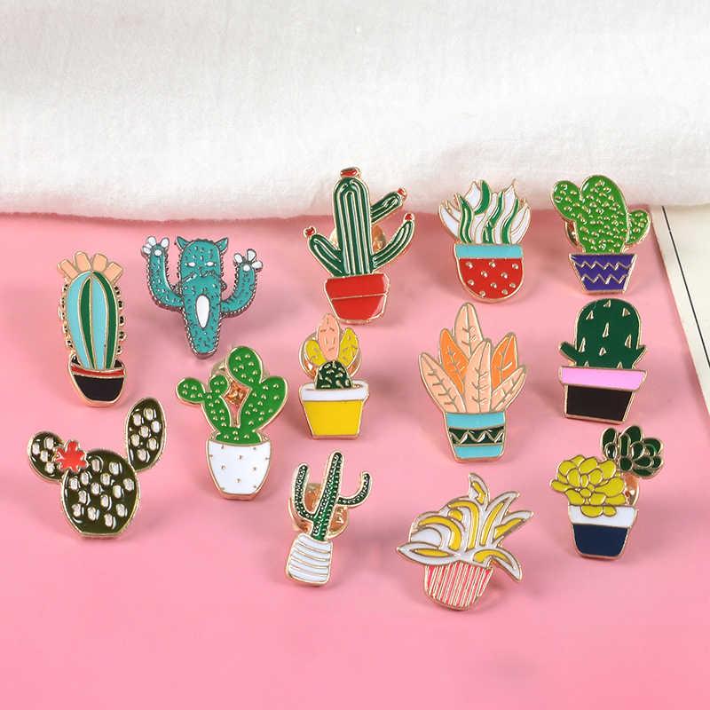 Pot Tanaman Kerah Pin Logam Berbagai Varietas Kaktus Bros Lencana Ransel Alam Pin Perhiasan Hadiah untuk Teman