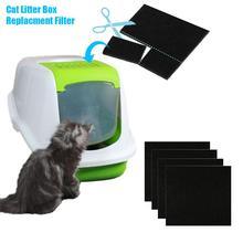 4, 6 штук в партии, Портативный ПЭТ кошачий ящик для мусора фильтровальная Подушка активированный уголь дезодорирует и фильтры угольная упаковка дезодорант для котенка