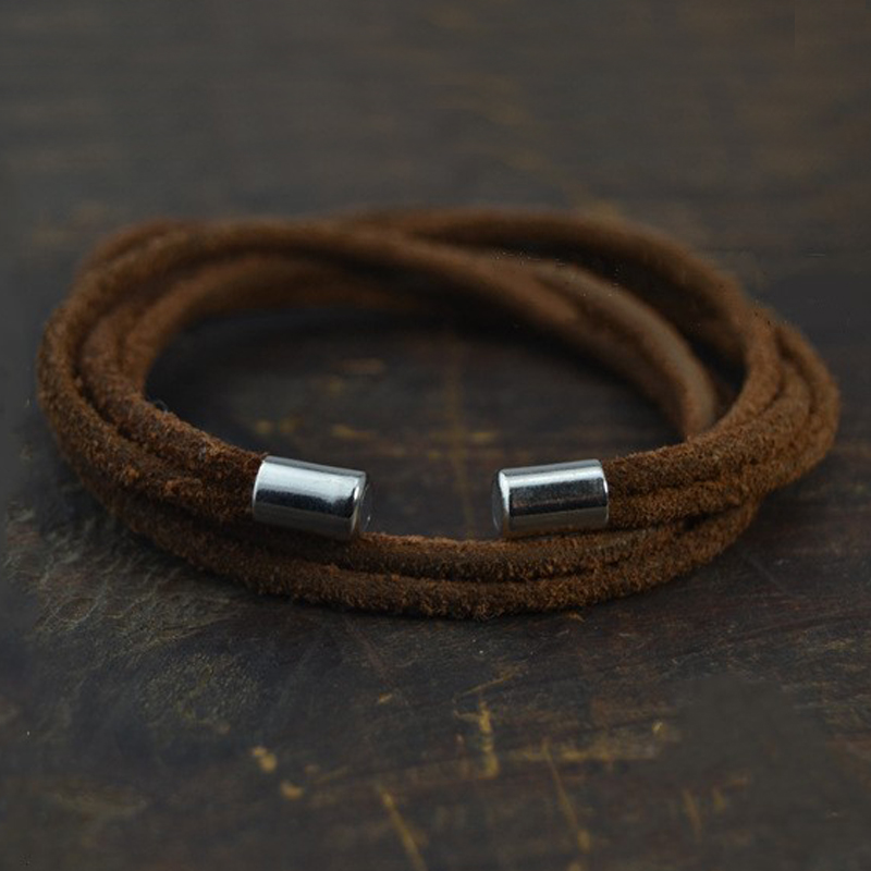 New Fashion Jewelry Hot Sale 3mm Leather Rope Charm Wrap Mens Magnetic Bracelet Gift