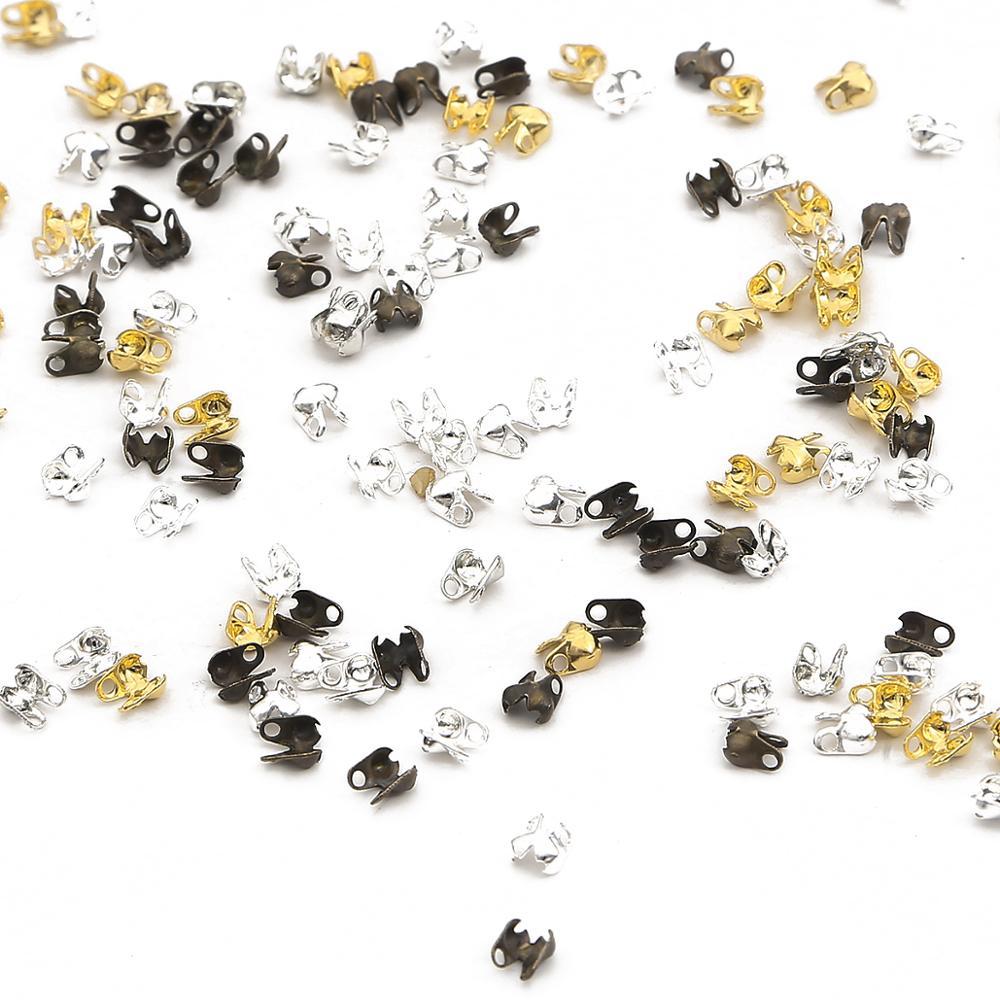 100 pçs 2.5x4mm jóias encontrando ouro prata chapeado final frisos contas bola corrente conector fecho descobertas