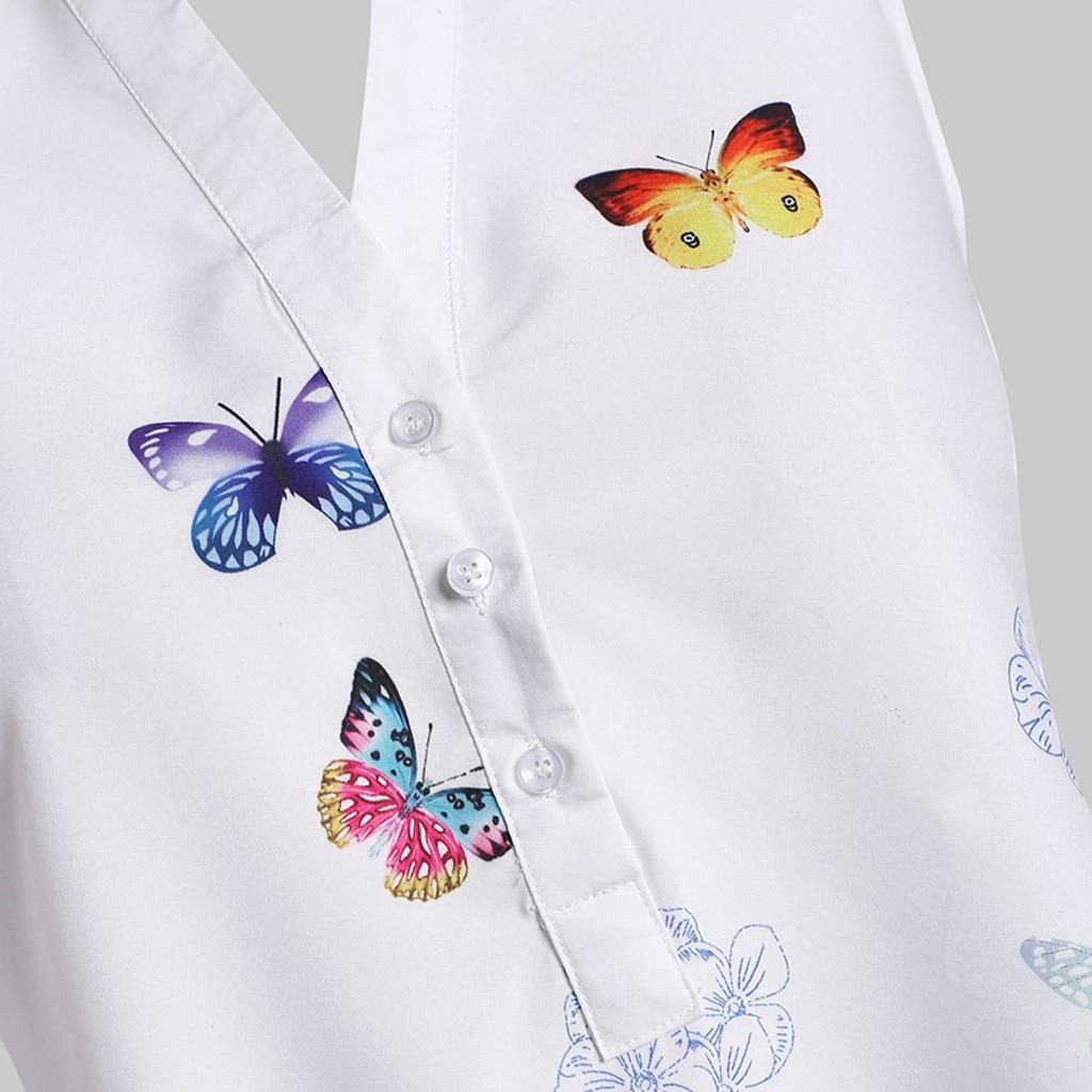 vestido de mujer Women Casual Plus Size Sleeveless Butterfly Print Top Blouse Shirt femme robe