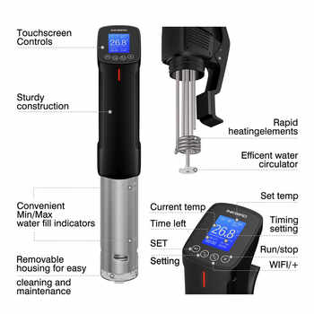 Inkbird Vacuum Slow Sous Vide WI-FI Food Cooker 1000W Powerful Immersion Circulator - LCD Digital Timer Display Stainless Steel
