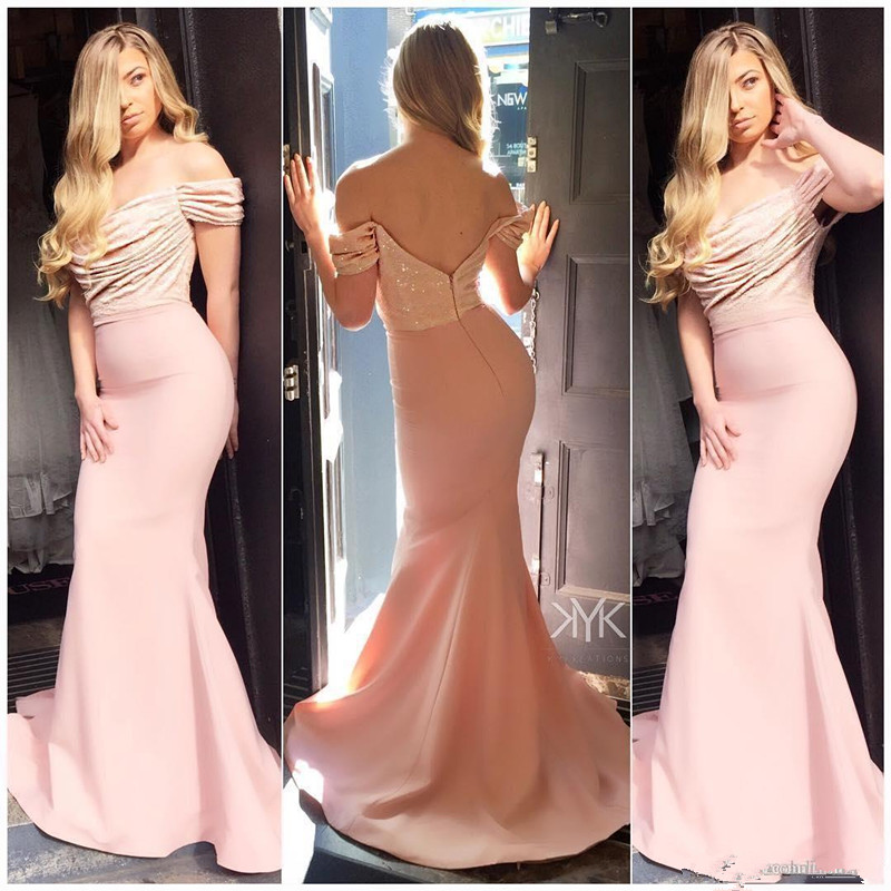 Pink Cheap   Bridesmaid     Dresses   Under 50 Mermaid Off The Shoulder Sequins Sparkle Backless Wedding Party   Dresses