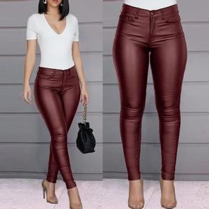 Women Hot Sexy Black Wine Wet Large Size High Waisted Buttoned Coated Pants Casual Stretch Trousers Slim Shiny PU Leather Pants