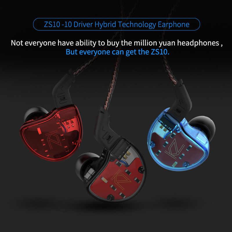 KZ ZS10 4BA + 1DD hybrydowy w uchu słuchawka hi-fi Running słuchawki sportowe słuchawki douszne KZ ZS7 AS10 AS16 ZSN PRO ZS10 PRO
