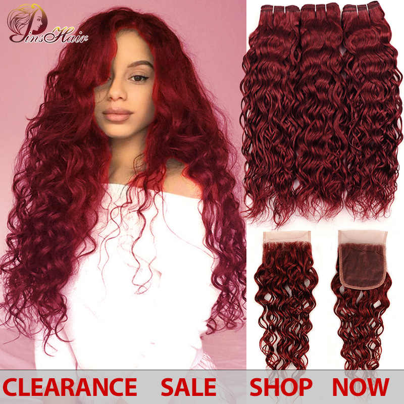 99J Bold Red Burgundy 3 Bundles With Closure Human Hair Brazilian Water Wave Bundles With Closure Pinshair Non-remy Can Restyle