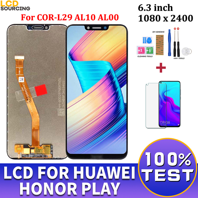 """Schermo LCD da 6.3 """"per Huawei Honor Play COR L29 AL10 AL00 Display LCD Touch Screen Digitizer Assembly + Frame per Honor Play sostituisci"""