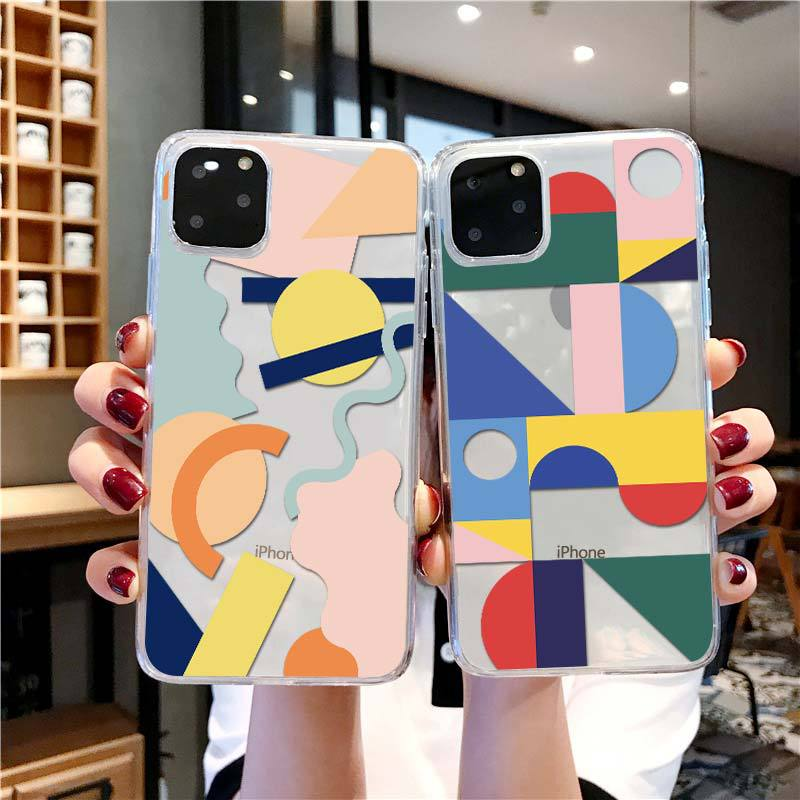 Geometric art Transparent <font><b>Case</b></font> for <font><b>iPhone</b></font> 11 Pro Max <font><b>Xs</b></font> Max SE2020 7 8 Plus 6S Plus XR Phone <font><b>Case</b></font> Soft silicone Abstract <font><b>Case</b></font> image