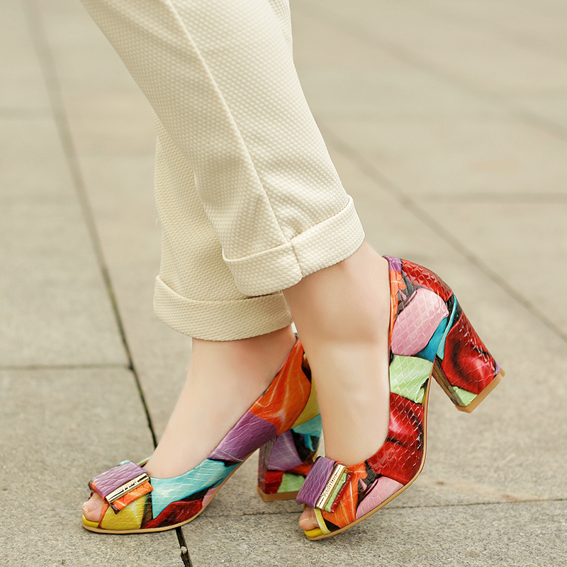 2019 Summer Women Fashion Mixed Colors Colorful Pumps Thick High Heels Peep Toe Shoes Woman Cow Leather Party Sandals Plus Size