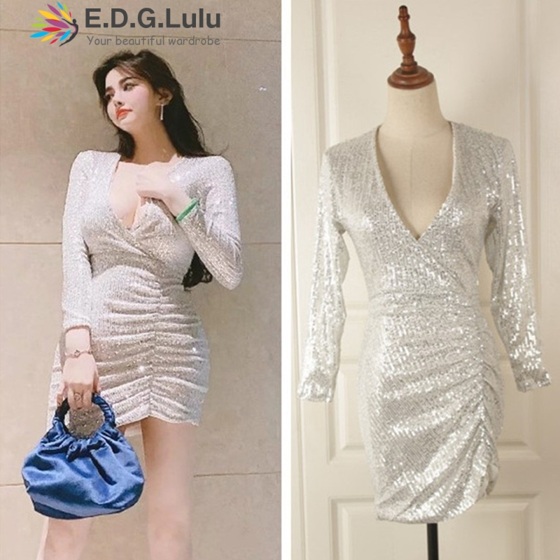 EDGLuLu deep v-neck long sleeves shiny silver <font><b>dresses</b></font> womens vintage elegant sexy party night club asymmetrical sequin <font><b>dress</b></font> image