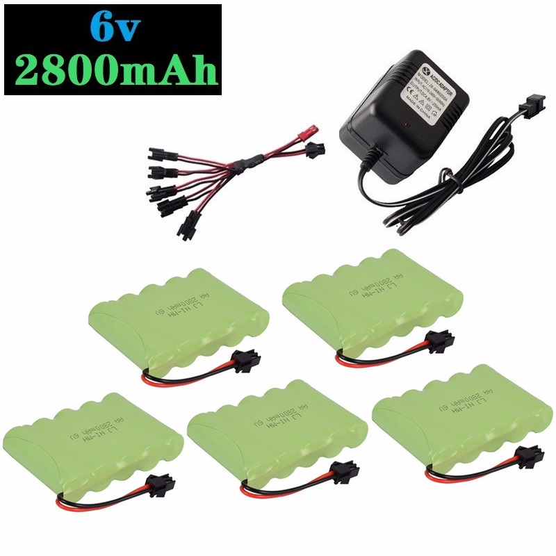 6v 2800mAh Battery and Charger For RC Cars Robots Tanks Truck Gun Boats 6v NiMH Battery Aa 700mah 6v Rechargeable Battery Pack image