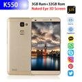 4 аппарат не привязан к оператору сотовой связи смартфон Rugum K550 3D невооруженным глазом 5,72 дюймовым HD монитором под управлением Экран 3 ГБ + 32 Г...