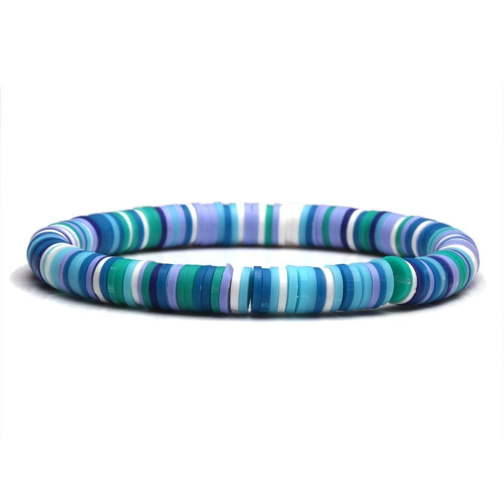 Boho 6mm Polymer Clay Heishi Beads Stretch Bracelet Women Girl Multicolored Rainbow Records Discs Bead Surfer Jewelry Present