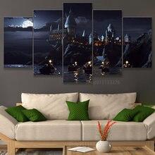 Póster de escuela de Harry Potter, pintura al óleo de Arte de pared, imágenes impresas para decoración de dormitorio y habitación de niños, 5 piezas