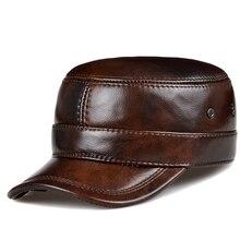 RY0108 erkekler İlkbahar/kış hakiki deri siyah/kahverengi düz beyzbol kapaklar erkek 54 62 cm özelleştirilmiş boyutu açık Snapback Golf şapka