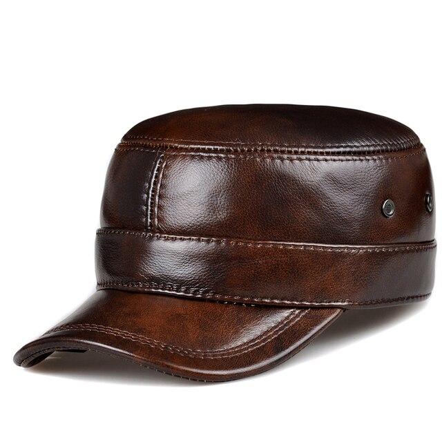 RY0108 gorras de béisbol planas de piel auténtica para hombre, gorras de béisbol planas en color negro/marrón, de 54 62 cm, tamaño personalizado, para exteriores, Snapback, sombrero de Golf