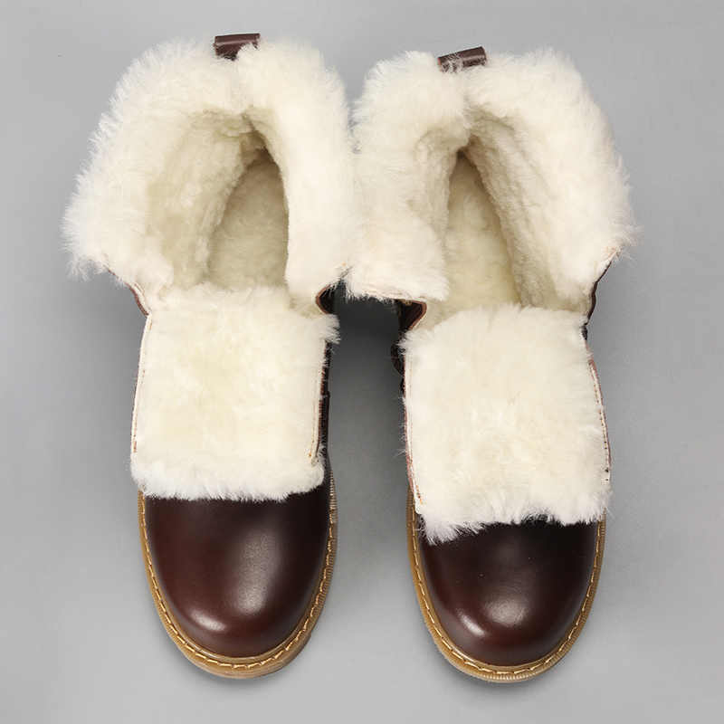 YOUQIJIA Winter Echt Leer mannen Bont Laarzen Britse Stijl Warm Casual Hoge Top Katoen Schoenen