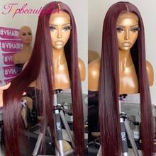 Em linha reta borgonha 13x4 perucas dianteiras do laço 99j colorido frente do laço perucas de cabelo humano para as mulheres 180% peruano remy 4x4 fechamento do laço perucas