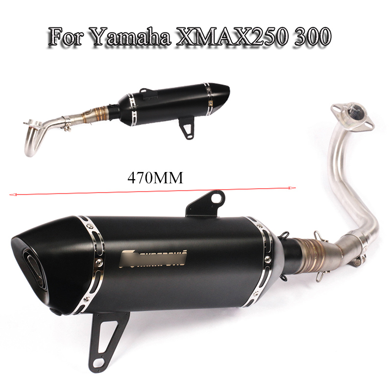 For <font><b>Yamaha</b></font> <font><b>XMAX</b></font> <font><b>250</b></font> 300 Motorcycle Full <font><b>Exhaust</b></font> Pipe Tip Muffler Tube With Front Mid Link Connect Pipe Slip On 2017-2019 Escape image